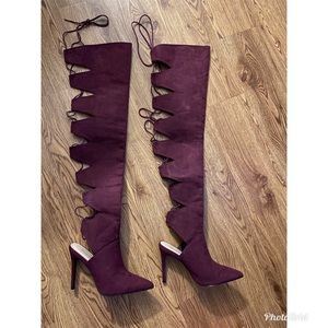 Burgundy thigh high heels (lace up the back)